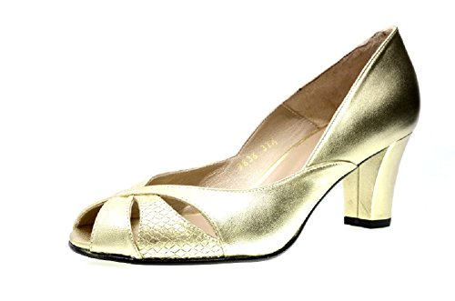 Leather Smart Block Toe EYE Leather Peep with L Patent in Court Black 41 and Heel a Gold Gold Silver Shoes Women's Yellow 856nqSxnw