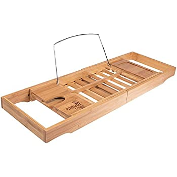 Amazon.com: Premium Bamboo Bath Tub Caddy | Expandable Bath Tray ...