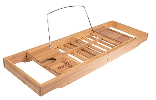 Premium Bamboo Bath Tub Caddy | Expandable Bath Tray with Wine Holder, Book Rest, & Phone Holder | Modern Design | Ultimate Relaxation | Expands to Any Tub Size by Clever Creations