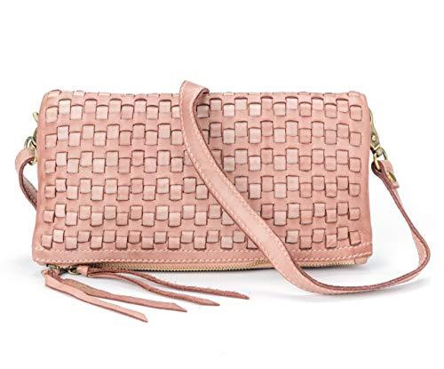 Ira Del Valle, Sac pour femme, Fabriqué en cuir tissé vintage authentique, Made Italy, modèle de Chicago, Pochette et sac à bandoulière faits à la main avec une femme, fille rose antique
