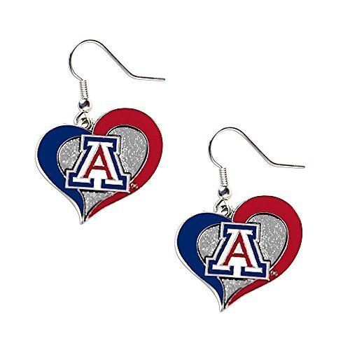 Arizona Wildcats Heart (Aminco Arizona Wildcats Swirl Heart Dangle Logo Earring Set NCAA Charm Gift by aminco)