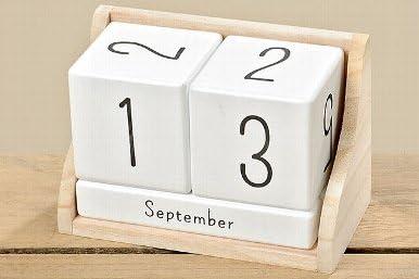 Dauerkalender / Tischkalender, aus Holz, weiss-natur; 14 x 7 x 9 cm,modern,trendy, exclusiv