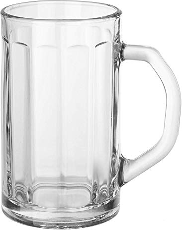 Circleware Downtown Pub Glass Beer Mugs with Handle Set of 2 Heavy Base Fun Entertainment Glassware Beverage Drinking Cups for Water, Wine, Juice and Bar Dining Decor Novelty 16.4 oz -