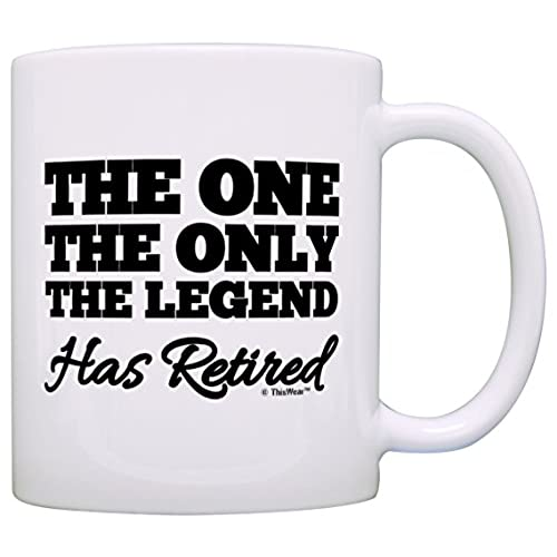 Mens retirement gifts amazon retirement gift the one only legend has retired retiring gag gift gift coffee mug tea cup white negle Images