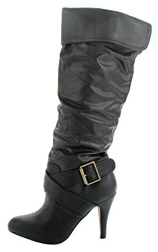 Vrouwen Betsy Mode Slouch Faux Kunstleer Gesp Motorfiets Kniehoge Laarzen Zwart