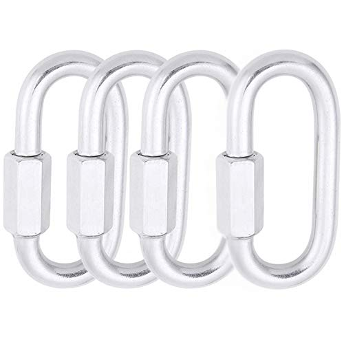 1,525 LBS W.L.L Heavy Duty Durable Quick Link Chain Rope Connector Keychain Ring Buckle AOWISH 4-Pack Stainless Steel SS Oval Locking Carabiner 5//16 Silver//M8 8 mm
