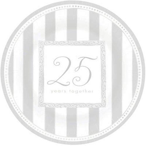 8 Paper Plates 26.6cm - Silver Anniversary Wishes Amscan 599095AMS-25ann-8