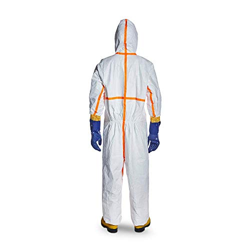 DuPont Tyvek 800 TJ198T CE-Certified Cat-III Type-3/4/5/6 Chemical Protective Coverall Suit with Sealed Bag, White, Small