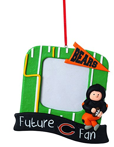 Team Sports America NFL Chicago Bears Field Future Fan Picture Frame Christmas Ornament, Small, Multicolored