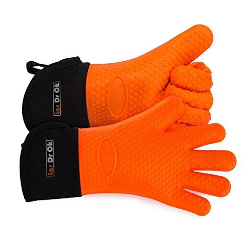 Orange Silicone Oven Mitts - 1 Pair of Extra Lo...