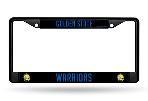 Rico Industries NBA Golden State Warriors Standard Black Chrome License Plate Frame