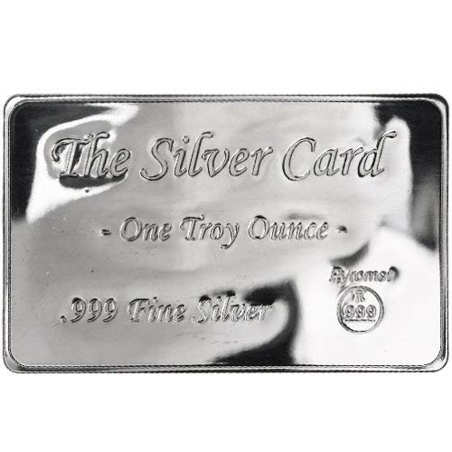 Troy Oz Silver Coin - 1 oz Silver Bar The Silver Card by Pyromet .999 Silver Bullion (Fits in Your Wallet)