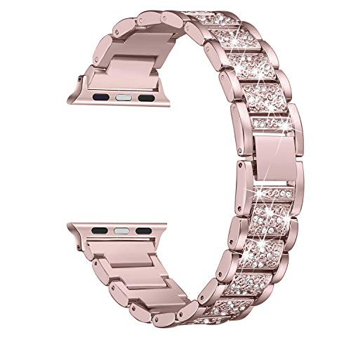Secbolt Bling Bands Compatible Apple Watch Band 42mm 44mm Iwatch Series 4 3 2 1, Metal Rhinestone Bling Replacement Wristband, Rose Gold