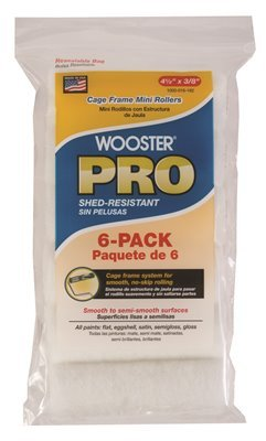 Wooster Brush HR983-4.5 Pro High Density Woven Cage Frame Mini Roller, 4-1/2 In. X 3/8 In. Nap, 6 Per Pack ()