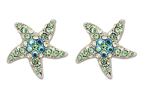 Sassy Clips Silver Starfish with Peridot-Clear-Indicolite Crystal Rhinestones