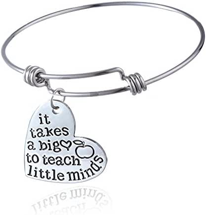 Term Begins/end Teachers Gift Bangles It takes a big heart to teach little minds Expandable Bracelets New