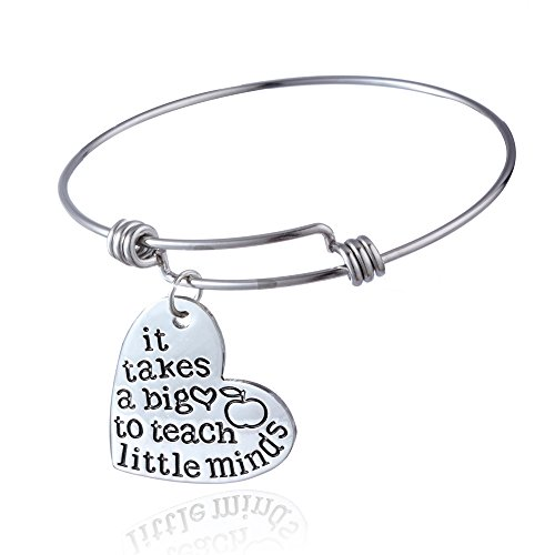 Term Begins/end Teachers Gift Bangles It takes a big heart to teach little minds Expandable Bracelets New (Style (Big Bangle)