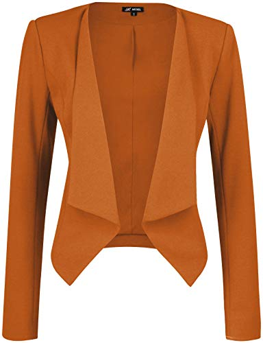 (Michel Womens Open Front Work Blazer Ruched Sleeve Casual Office Jacket)