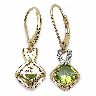 Bijoux Schmidt-Boucles d'oreilles / crochet d'oreille avec Peridot - 2.10 carats- plaqué or avec 14 Karat or jaune
