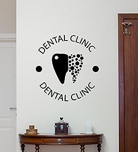Dental Clinic Wall Decal Stomatology Dental Care Logo Emblem Teeth Hospital  Medicine Vinyl Sticker Office Wall Decor Wall Art Design Mural 63bar
