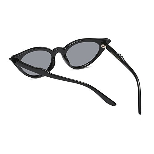 Vintage Brillante Gris Retro Style Negro Mod Oval Frame para Yefree mujer Lente Eye Todo Sunglasses Cat Resin Rq5ad6H