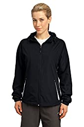 Sport-Tek Women\'s Colorblock Hooded Raglan Jacket 4XL Black/White