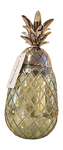 Crown Canister - TB Pineapple Metal Crown Glass Pineapple Canister, Tall (Silver)