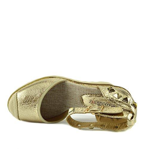 Kick Footwear Damen Keilabsatz Knöchel Riemchen Espadrille-Plattform Sandalen Sommer Schuhe Gold AF8668