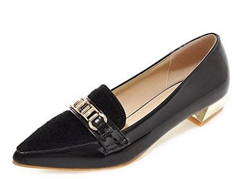 AgooLar Damen Spitz Zehe Niedriger Absatz Blend-Materialien Eingelegt Pumps Schuhe Schwarz