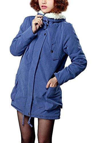 Eclair Femme Manteau Parka Mileeo Bleu Chaude Mode À Hiver Blouson Epais Pour Fourrure Poche Fermeture Avec Veste XqxBF6
