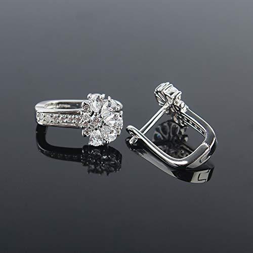 925 Sterling Silver Small Hoop Earrings Cubic Zirconia cartilage, Cubic Zirconia Cuff Earrings Huggie Stud, Gold Plated Huggie Earrings for Women Hypoallergenic (Big CZ-Silver)