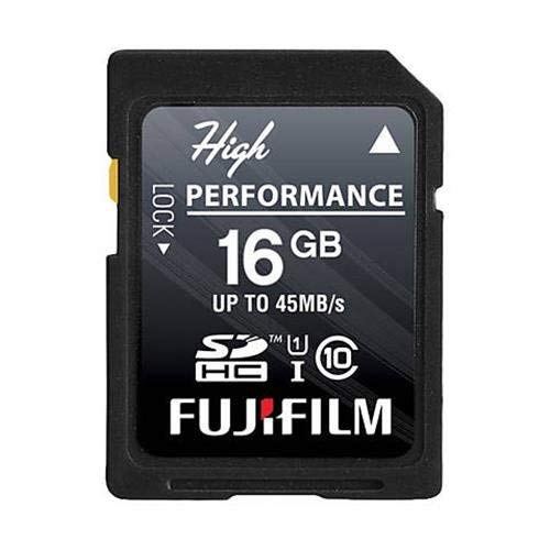 Fujifilm High Performance - Flash Memory Card - 16 GB - SDHC UHS-I, Black (600013602) (Fujifilm 16gb Sdhc Class 10 Memory Card)