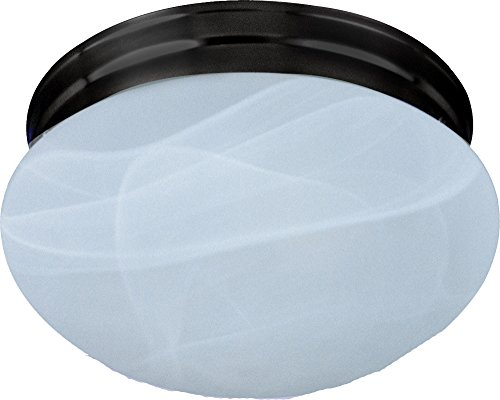 Maxim 5885MROI Essentials 2-Light Flush Mount, Oil Rubbed Bronze Finish, Marble Glass, MB Incandescent Incandescent Bulb , 60W Max., Dry Safety Rating, Standard Dimmable, Glass Shade Material, Rated Lumens