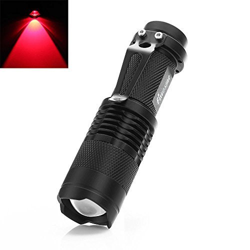 SK68 Red Mini 7W 300LM Zoomable LED Hunting Flashlight Adjustable Focus, 14500 3-Mode Torch for Night Vision