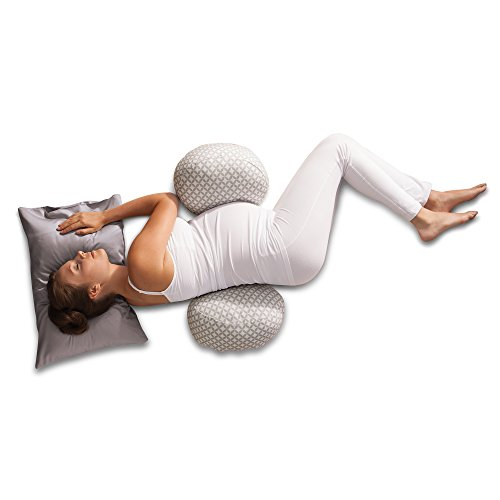 Boppy Side Sleeper Pregnancy Pillow, Diamond Circles Gray and White, Maternity Pillow with removable jersey cover