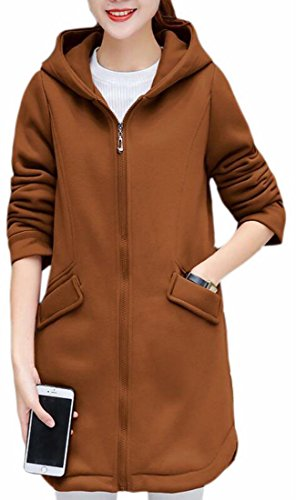 Sleeve UK Fleece Camel Long Lined Hoodies Sweatshirt today Jacket Womens Winter ZdRZ0q