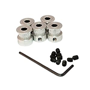 BEMONOC GT2 20 Teeth Timing Belt Pulley Bore 6.35mm Aluminum Alloy for 3D Printer Parts Pack of 5pcs from BBQ Driver