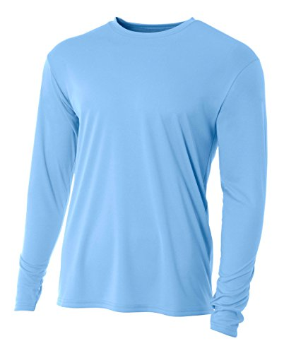 A4 Men's Cooling Performance Crew Long Sleeve T-Shirt, Light Blue, Medium