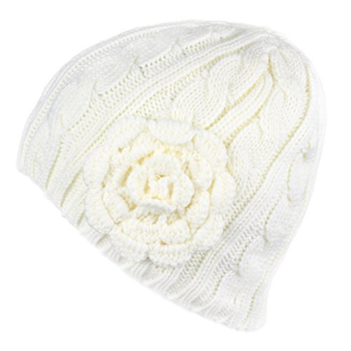 Accent Pom Pom Knit - Hatsandscarf CC Exclusives Women's Knitted Cute Beanie Hat with Flower Accent (Ivory)
