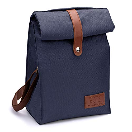 Insulated Lunch Bag by KRYO - Small reusable cooler bag - A travel lunchbox with shoulder strap for Adult men and women - Portable waterproof lunchboxes for work the office the beach, school - blue