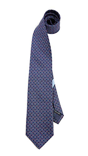 (Salvatore Ferragamo Men's Gancio Print Tie, Navy/Red, One Size )