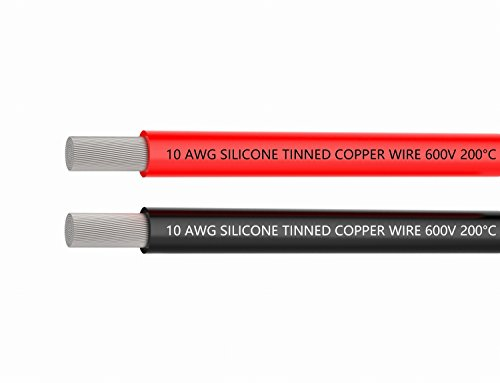 10 AWG Cables Wire 10 Gauge Silicon Wire [10 ft Black and 10 ft Red] Wires High Temperature Resistant Ultra of Tinned Copper Wire Flexible Works Well for Auto Battery Clamp Cable,RC charging box by TUOFENG