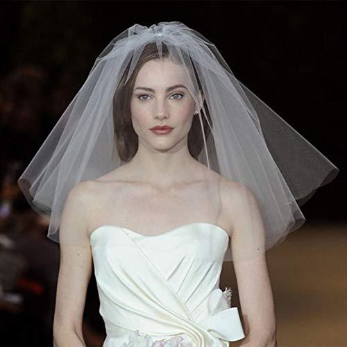 (Fangsen Wedding Bridal Veil with Comb 2 Tier Bridal Shoulder Length Veil (2T Short White))