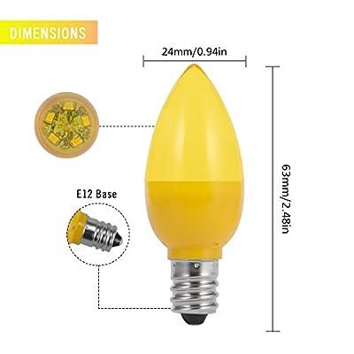 JandCase LED C7 Light Bulbs, 0.5W, Red, E12 Candelabra Base, 4 Pack