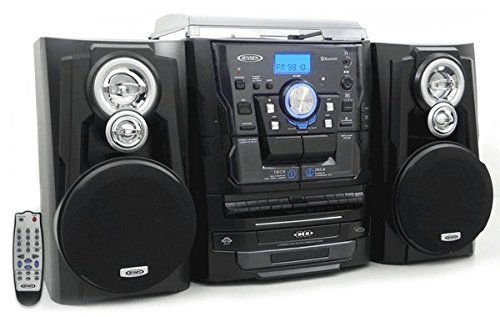 Jensen All-in-One Hi-Fi Stereo CD Player Turntable & Digital AM/FM Radio Tuner Tape Cassette Player Mega Bass Reflex Stereo Sound System