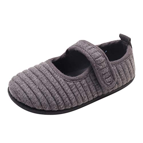 Tantisy ♣↭♣ Fashion Kids Espadrilles // Boys Girls Cotton Breathable Lightweight Loafers Casual Comfy Toddler Shoes Gray ()
