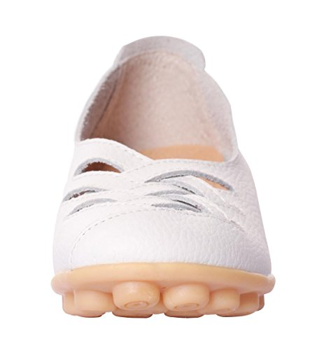 Leather Cowhide Slip Loafer White Women's on Casual Flat Shoes UJoowalk Driving RgFBqx