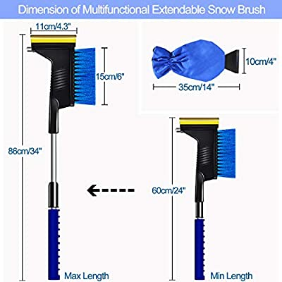 HANGHANG Extendable Car Snow Brush Ice Scraper with Safety Hammer 3-in-1 and Windscreen Snow Ice Scraper with Glove Waterproof for Car MPV SUV Truck, Blue, 2 Pack/Set: Automotive