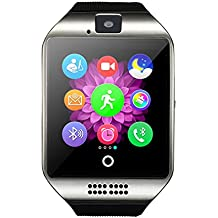 Bluetooth Smart Watch, Q18 Touch Screen Smartwatch with Camera and SIM Card TF/SD Card Slot Pedometer Activity Tracker for iphone android phones Samsung HUAWEI PK GT08 A1 (silver)