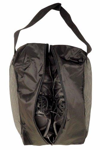 JP Lann Golf Double Vented Mesh Shoe Bag, Black, 17 x 12 x 5-Inch
